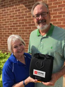 Mrs. Lake Donating Defibrilator